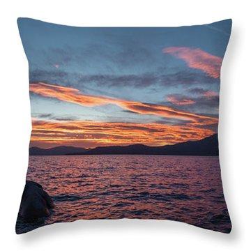 Sand Harbor Sunset Pano2 Throw Pillow