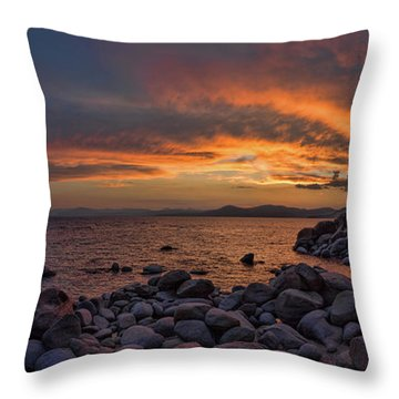 Sand Harbor Sunset Panorama Throw Pillow