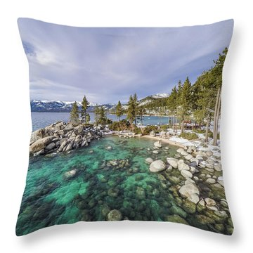 Sand Harbor Views Throw Pillow