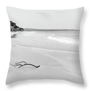 Sand Meets The Sea In Black And White Throw Pillow