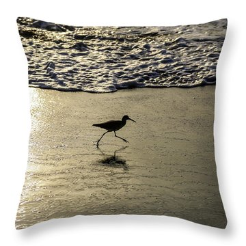 Sand Piper Dash Throw Pillow