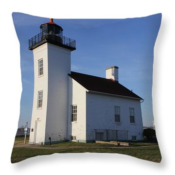 Sand Point Lighthouse In Escanaba Throw Pillow
