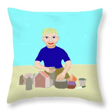 Sand Sculptor Throw Pillow by Fred Jinkins