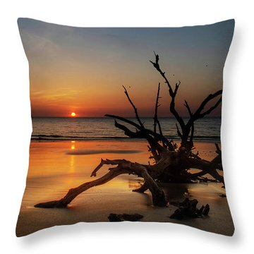 Throw Pillow featuring the photograph Sand Surf And Driftwood by Chrystal Mimbs