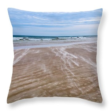 Throw Pillow featuring the photograph Sand Swirls On The Beach by John M Bailey
