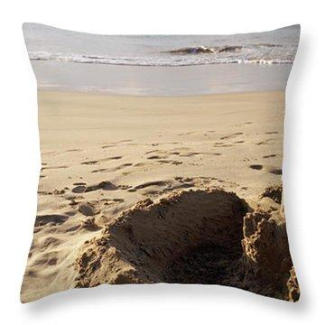 Sandcastle On The Beach, Hapuna Beach Throw Pillow