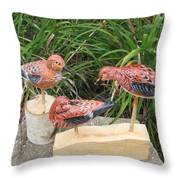 Sanderling Trio Throw Pillow by Kevin F Heuman