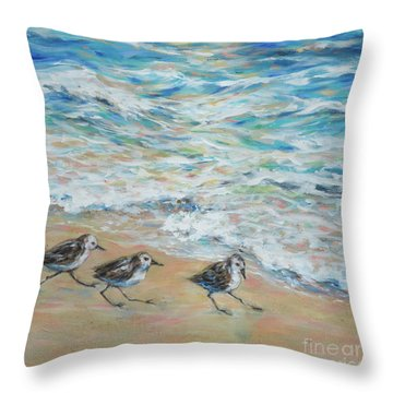 Sanderlings Running Throw Pillow by Linda Olsen