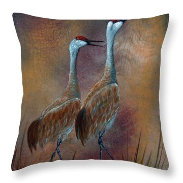 Sandhill Crane Duet Throw Pillow by Dee Carpenter