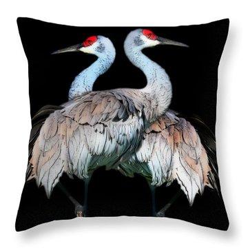 Sandhill Crane Mirror Image Throw Pillow