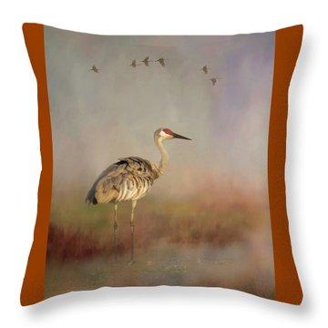 Sandhill Crane - Painterly Vertical Throw Pillow