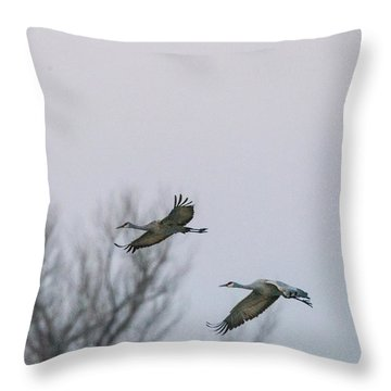 Sandhill Cranes Flying Throw Pillow