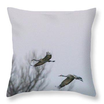 Sandhill Cranes Flying Throw Pillow