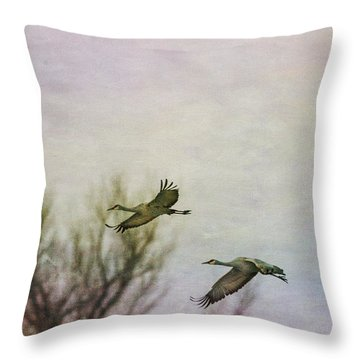 Sandhill Cranes Flying - Texture Throw Pillow