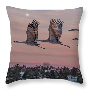 Sandhill Cranes In Flight Throw Pillow by Patti Deters