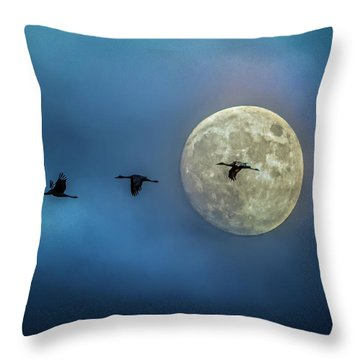 Sandhill Cranes With Full Moon Throw Pillow