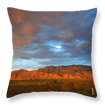 Sandia Mountains Colorful Sunset Throw Pillow by Andrea Hazel Ihlefeld