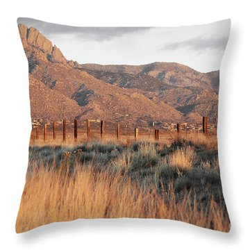 Sandia Mountains Rustic Fence Countryside Throw Pillow by Andrea Hazel Ihlefeld