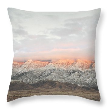 Sandia Mountains Rustic Sunset Landscape Throw Pillow by Andrea Hazel Ihlefeld