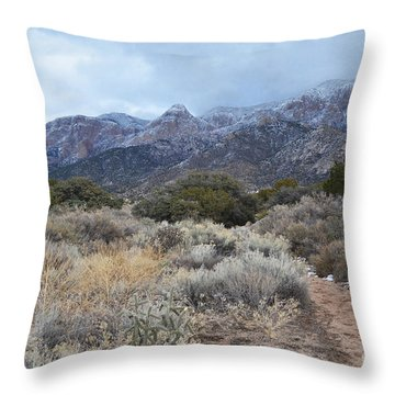 Sandia Mountains Storm Winter Landscape Throw Pillow by Andrea Hazel Ihlefeld