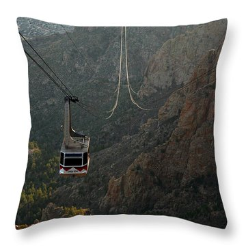 Sandia Peak Cable Car Throw Pillow by Joe Kozlowski