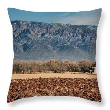 Throw Pillow featuring the photograph Sandias - Los Poblanos Fields by Nikolyn McDonald