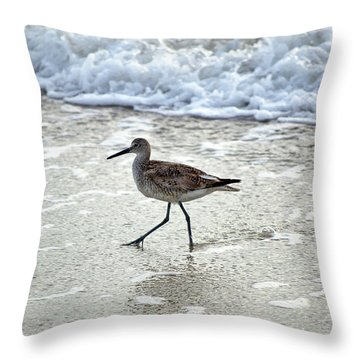 Sandpiper Escaping The Waves Throw Pillow by Kenneth Albin