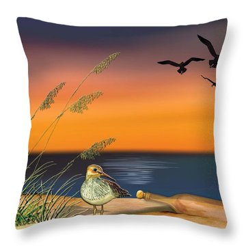 Throw Pillow featuring the painting Sandpiper For Angel by Anne Beverley-Stamps