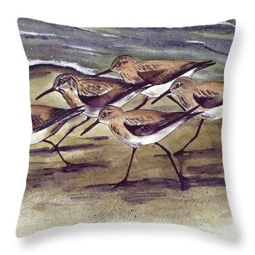 Throw Pillow featuring the painting Sandpipers by Nancy Patterson