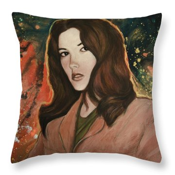 Throw Pillow featuring the painting Sandra Lee Henry-the Only Woman I Ever Loved by Ron Richard Baviello