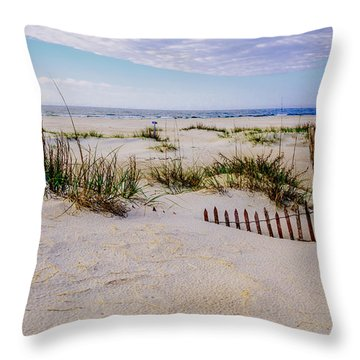 Sand  Fences On The Bogue Banks 2 Throw Pillow