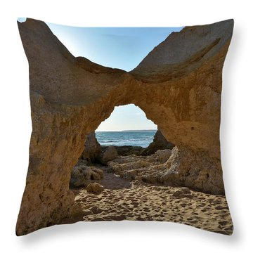 Sandstone Arch In Gale Beach. Algarve Throw Pillow