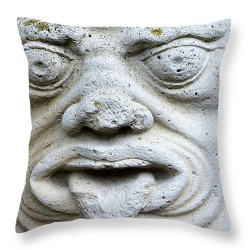 Sandstone Sculpture At The Main Entrance Of The Corvey Monastery Throw Pillow