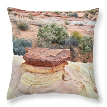 Throw Pillow featuring the photograph Sandstone Toadstool In Valley Of Fire by Ray Mathis