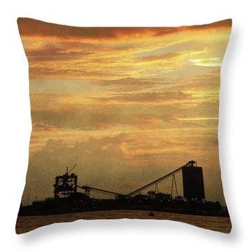 Sandusky Coal Dock Sunset Throw Pillow