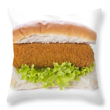 Sandwich With Dutch Meat Croquette, Isolated On White Throw Pillow