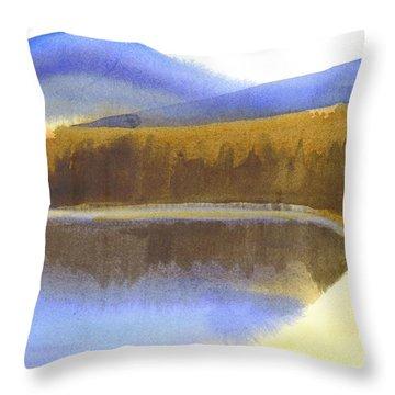 Sandy Blue Dusky Mountain Lake Throw Pillow by Kip DeVore