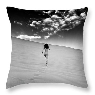 Sandy Dune Nude - Catching The Clouds Throw Pillow