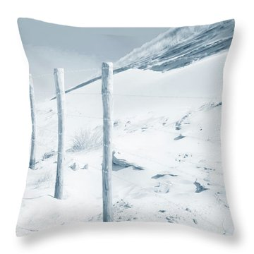 Throw Pillow featuring the photograph Sandy Dunes. Series Ethereal Blue by Jenny Rainbow