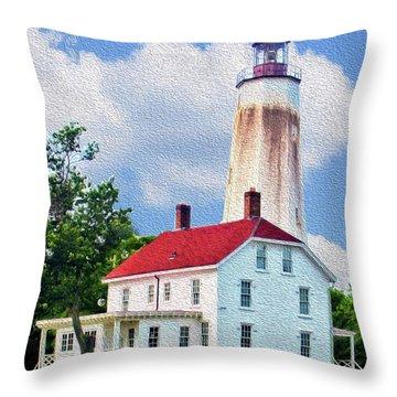 Sandy Hook Light House Throw Pillow