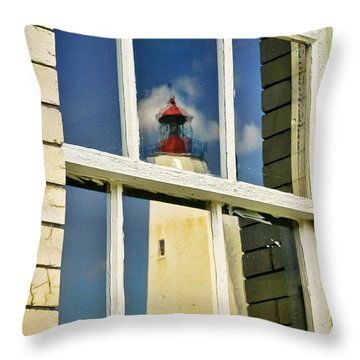 Throw Pillow featuring the photograph Sandy Hook Lighthouse Reflection by Gary Slawsky