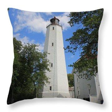 Sandy Hook Lighthouse Tower Throw Pillow