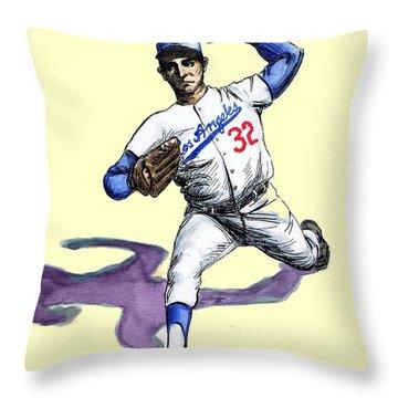 Sandy Koufax Throw Pillow by Mel Thompson