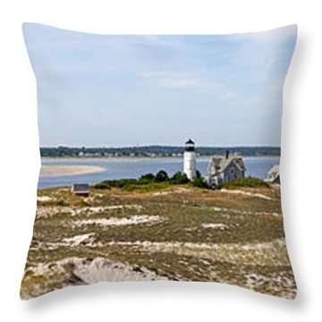 Sandy Neck Lighthouse With Fishing Boat Throw Pillow