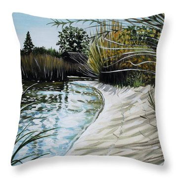 Throw Pillow featuring the painting Sandy Reeds by Elizabeth Robinette Tyndall