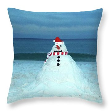 Sandy The Snowman Throw Pillow
