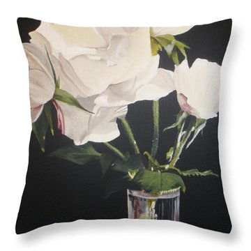 Throw Pillow featuring the painting Sandys Roses by Betty-Anne McDonald