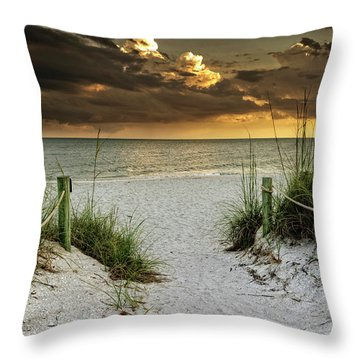 Throw Pillow featuring the photograph Sanibel Island Beach Access by Greg Mimbs