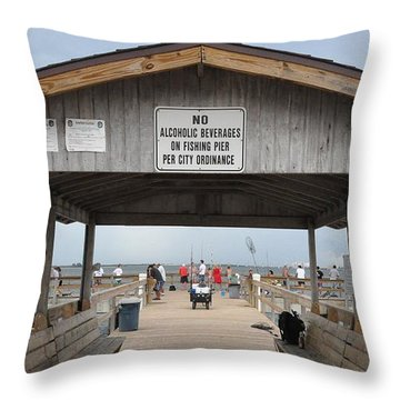 Sanibel Island Fishing Pier Throw Pillow