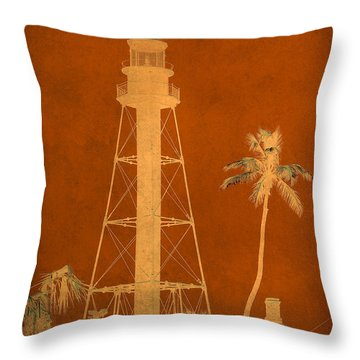 Sanibel Island Lighthouse Throw Pillow by Trish Tritz